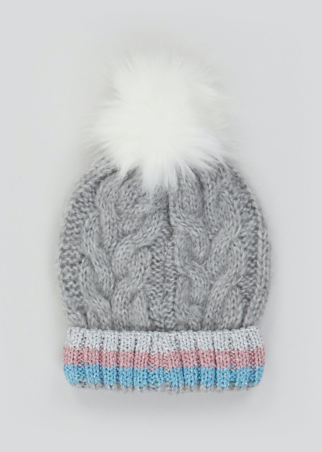Girls Cable Knit Bobble Hat (7-13yrs)