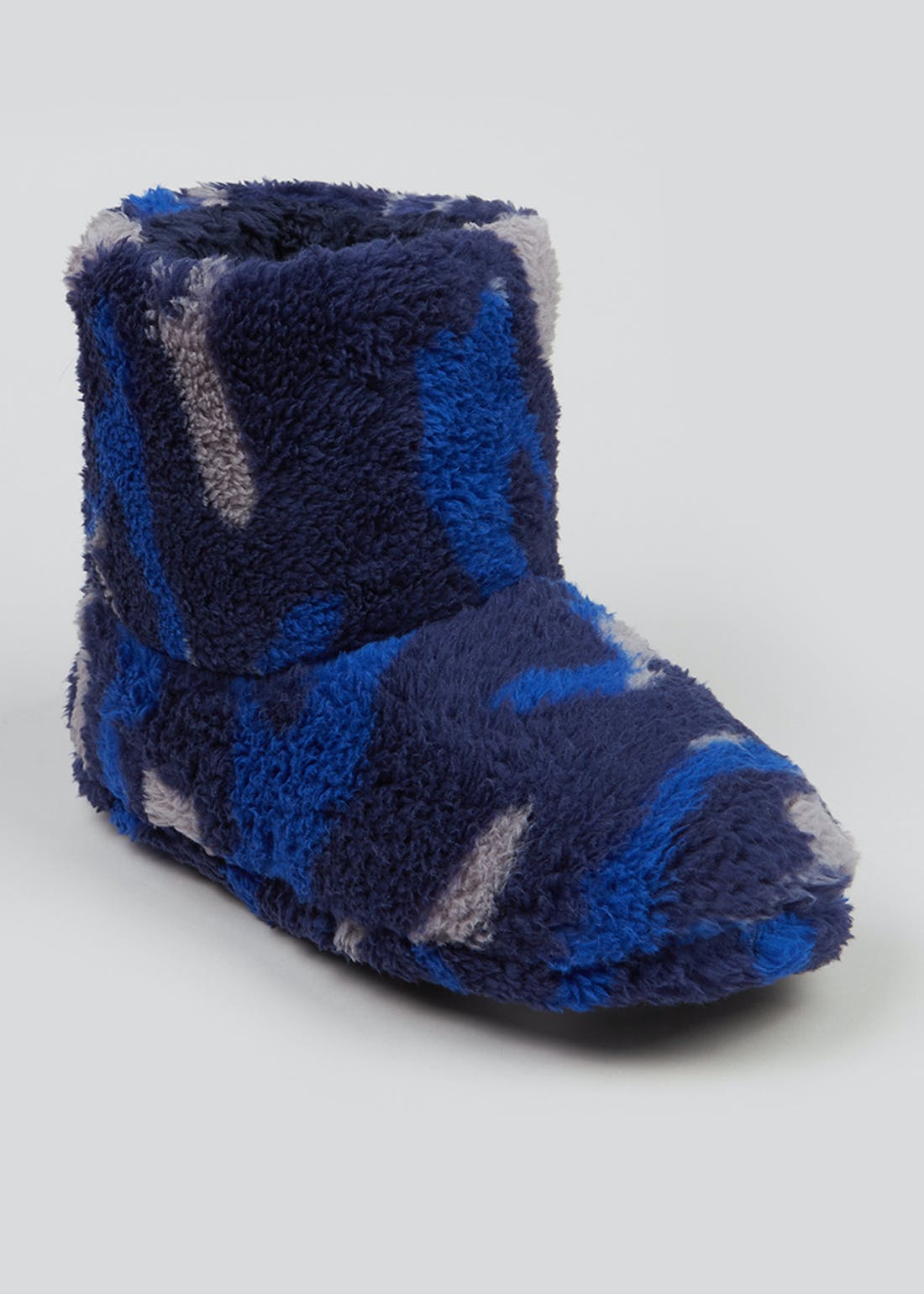 Boys Blue Camo Slipper Boots (Younger 10-Older 6)