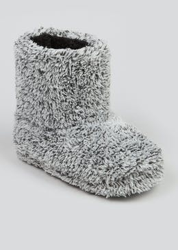 Boys Grey Fluffy Slipper Boots (Younger 10-Older 6)