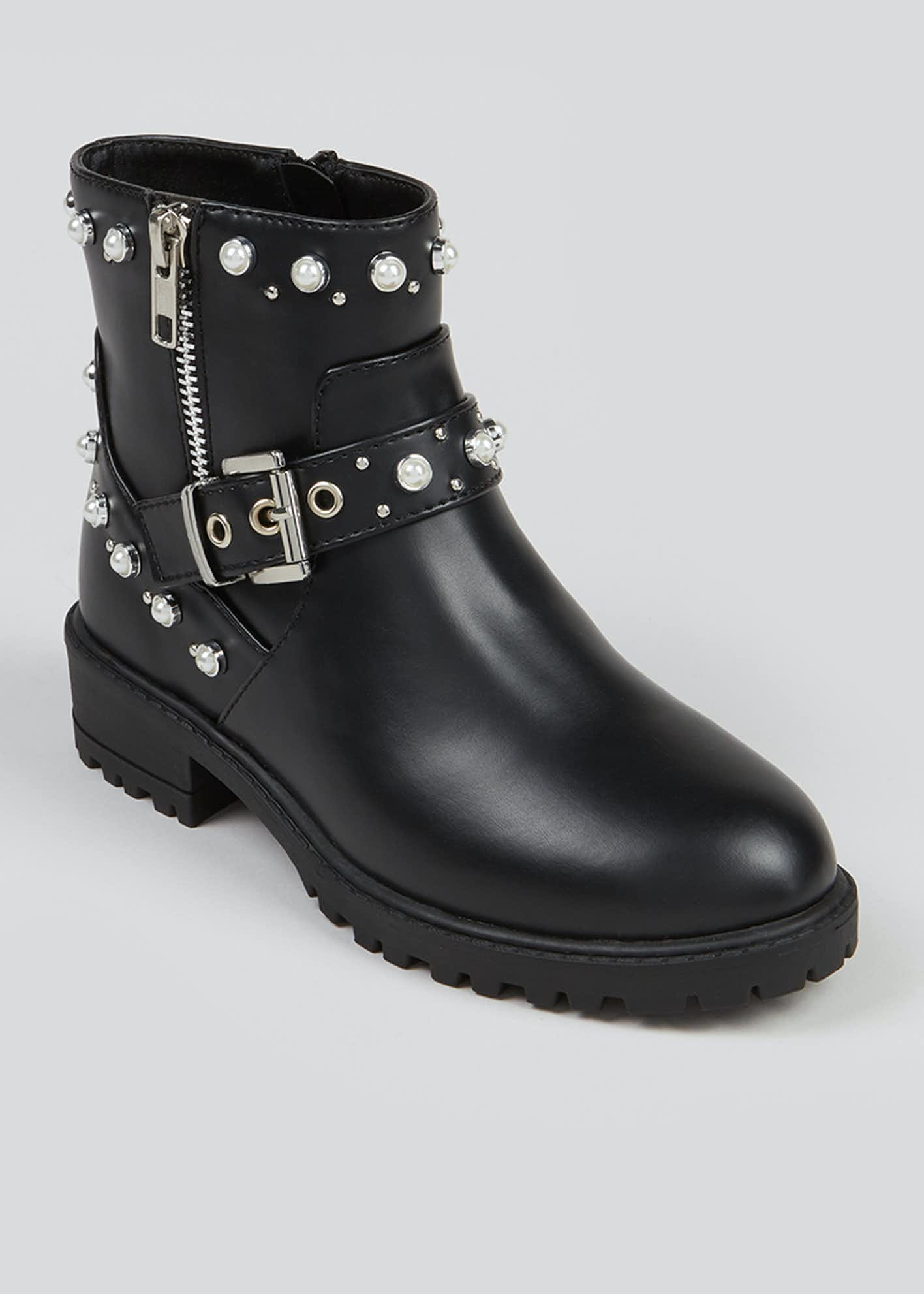 Girls Black Pearl Trim Ankle Boots (Younger 10-Older 5)