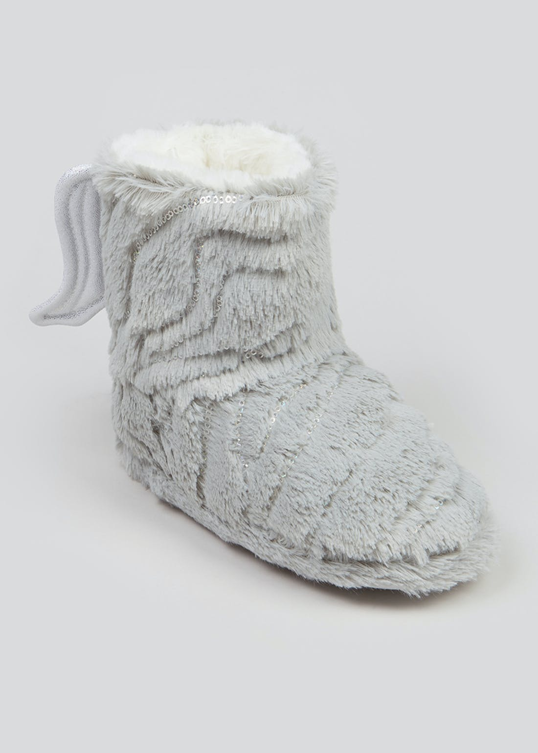Girls Grey Fluffy Angel Wing Slipper Boots (Younger 10-Older 5)