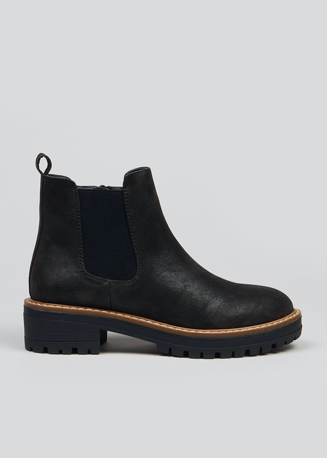 Black Chunky Sole Chelsea Boots