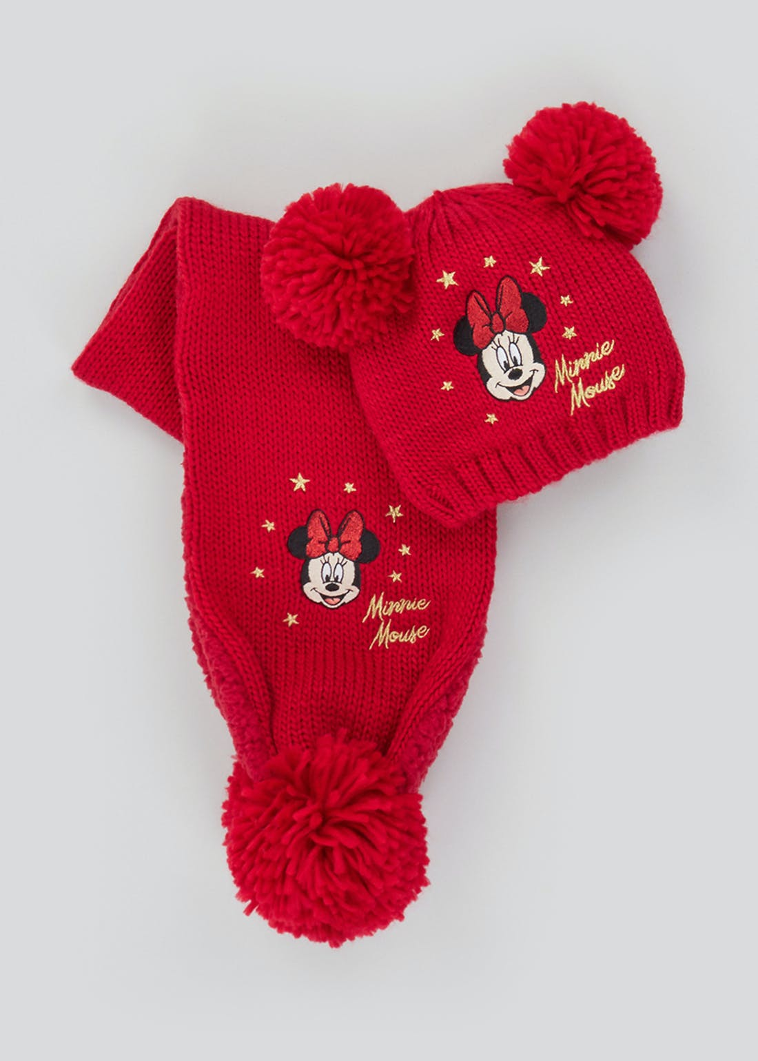 Girls Disney Minnie Mouse Hat & Scarf Set (12mths-6yrs)