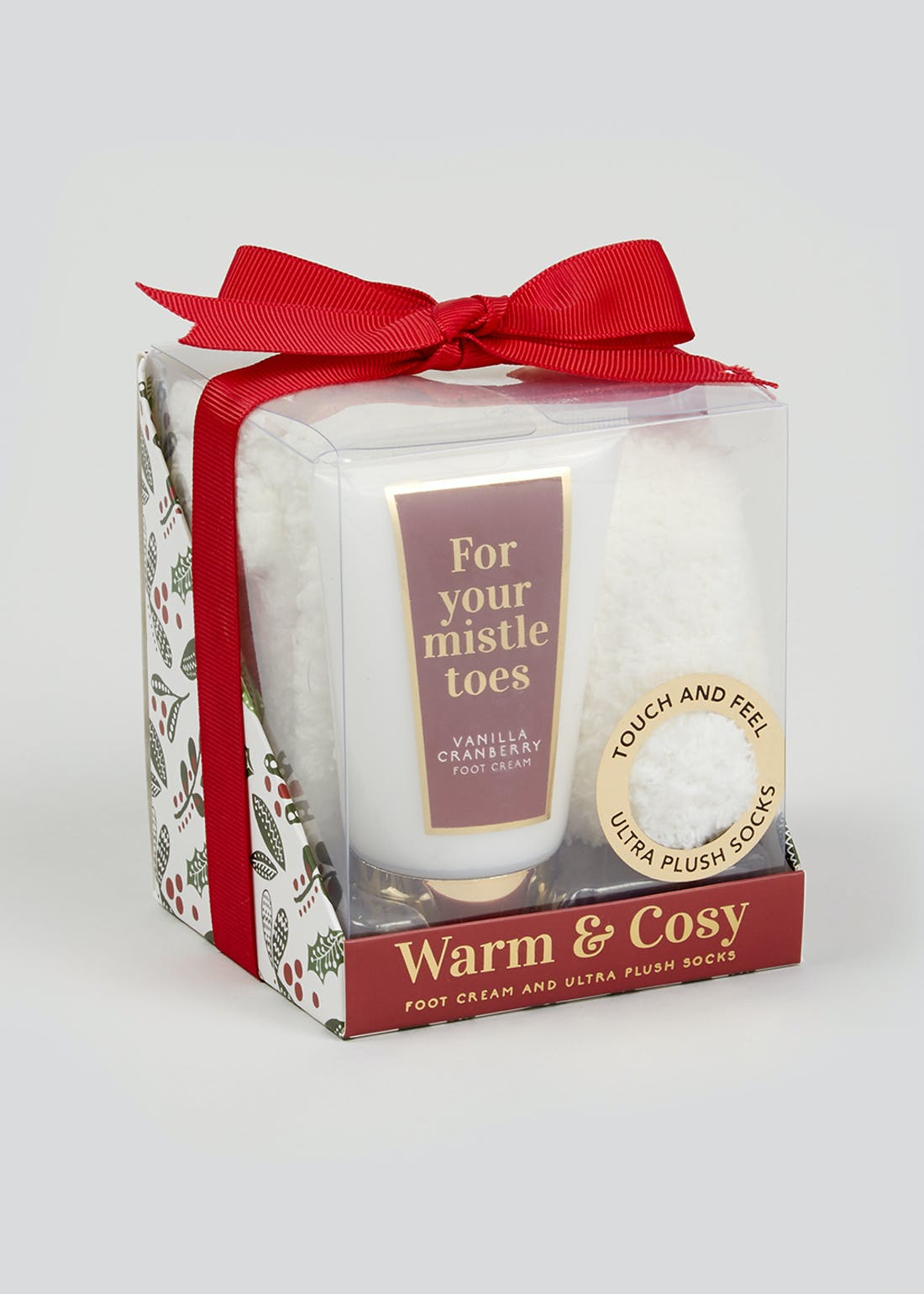 Christmas Foot Cream & Cosy Socks Gift Set (11cm x 9cm x 9cm)