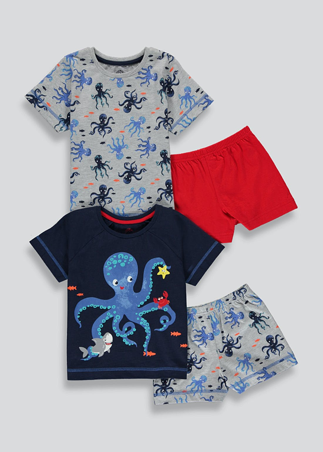 Boys 2 Pack Octopus Print Pyjamas (9mths-5yrs)