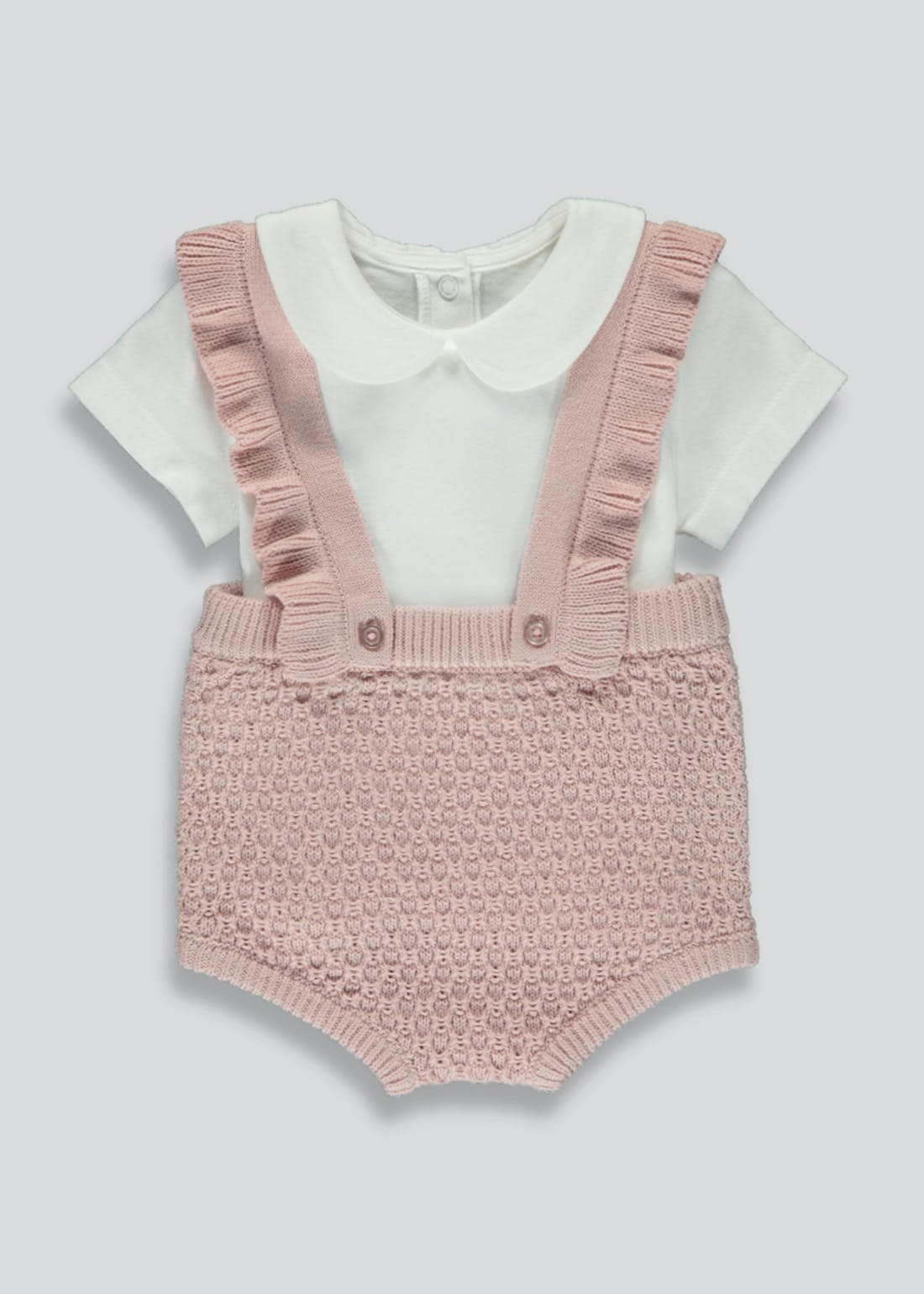 Girls Knitted Frill Romper Set (Tiny Baby-23mths)