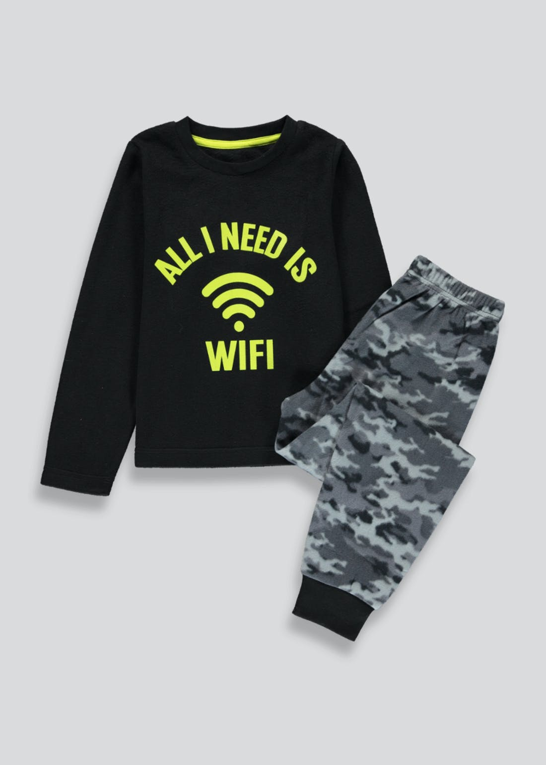 Boys WiFi Print Fleece Pyjama Set (4-13yrs)