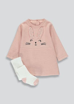 Girls Pink Knitted Bunny Dress & Tights Set (Tiny Baby-23mths)