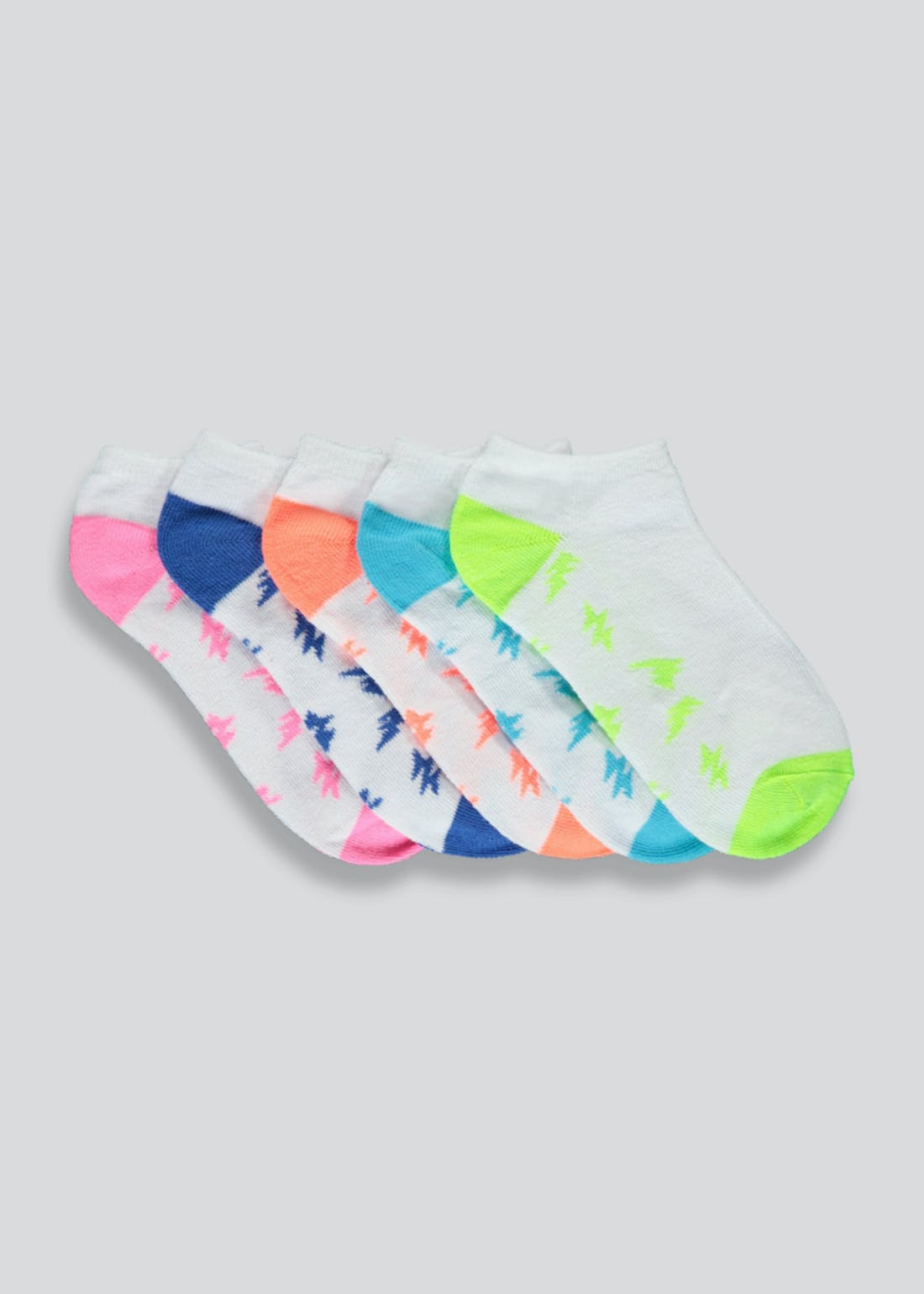 Boys 5 Pack Neon Trainer Socks (Younger 6-Older 6.5)