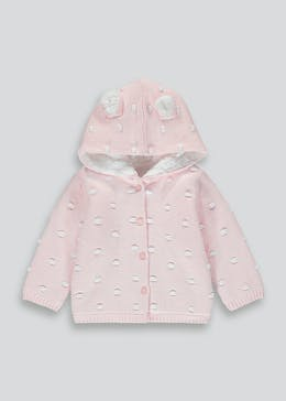 Girls Pink Knitted 3D Ears Cardigan (Tiny Baby-23mths)