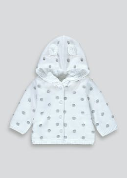 Unisex Grey Knitted 3D Ears Cardigan (Tiny Baby-23mths)