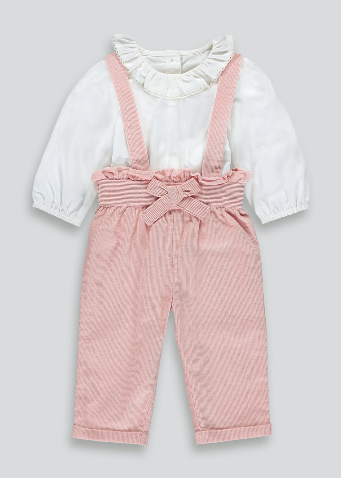 Girls Cord Dungaree & Blouse (Tiny Baby-23mths)