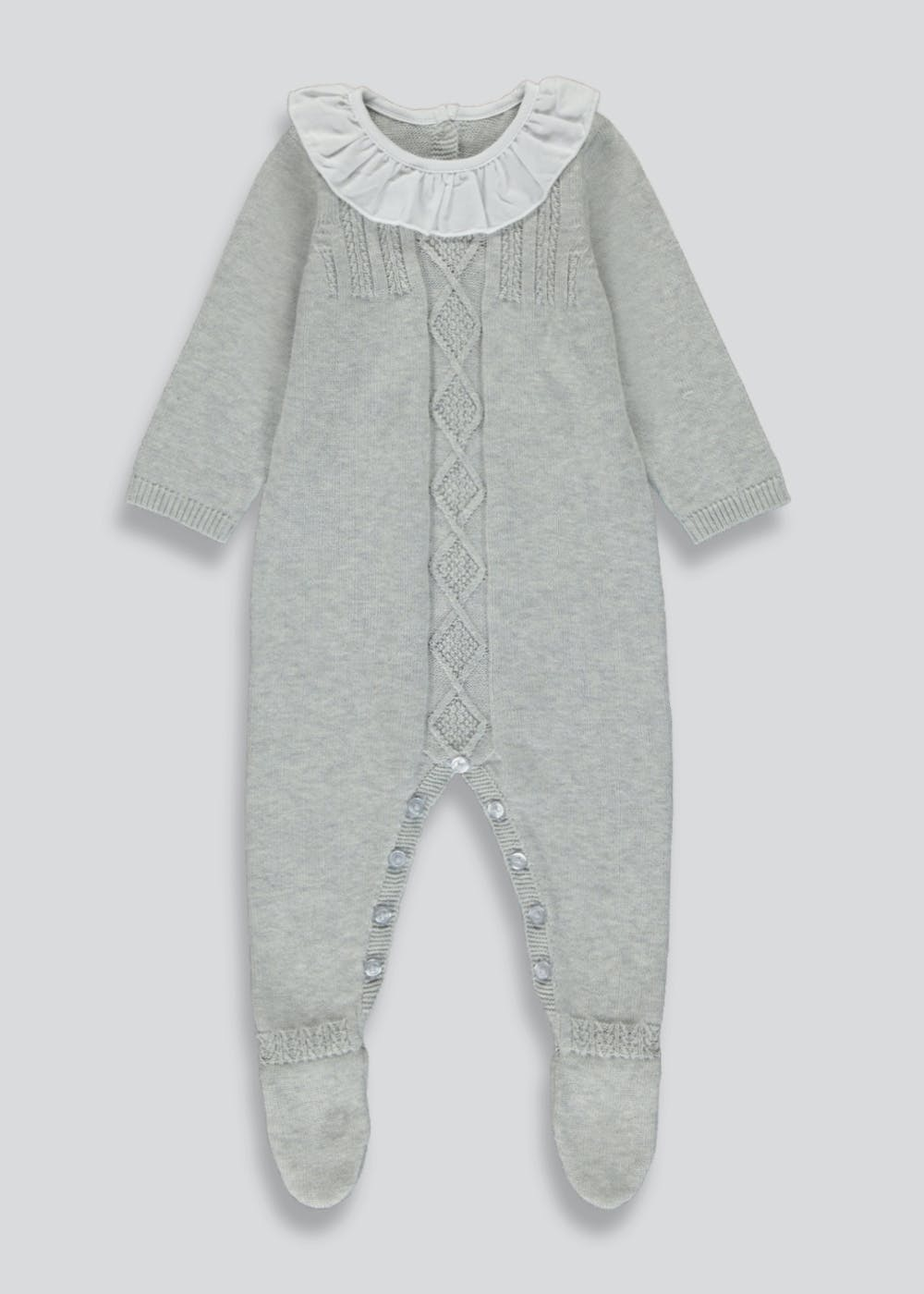 Grey knit frill neck baby romper
