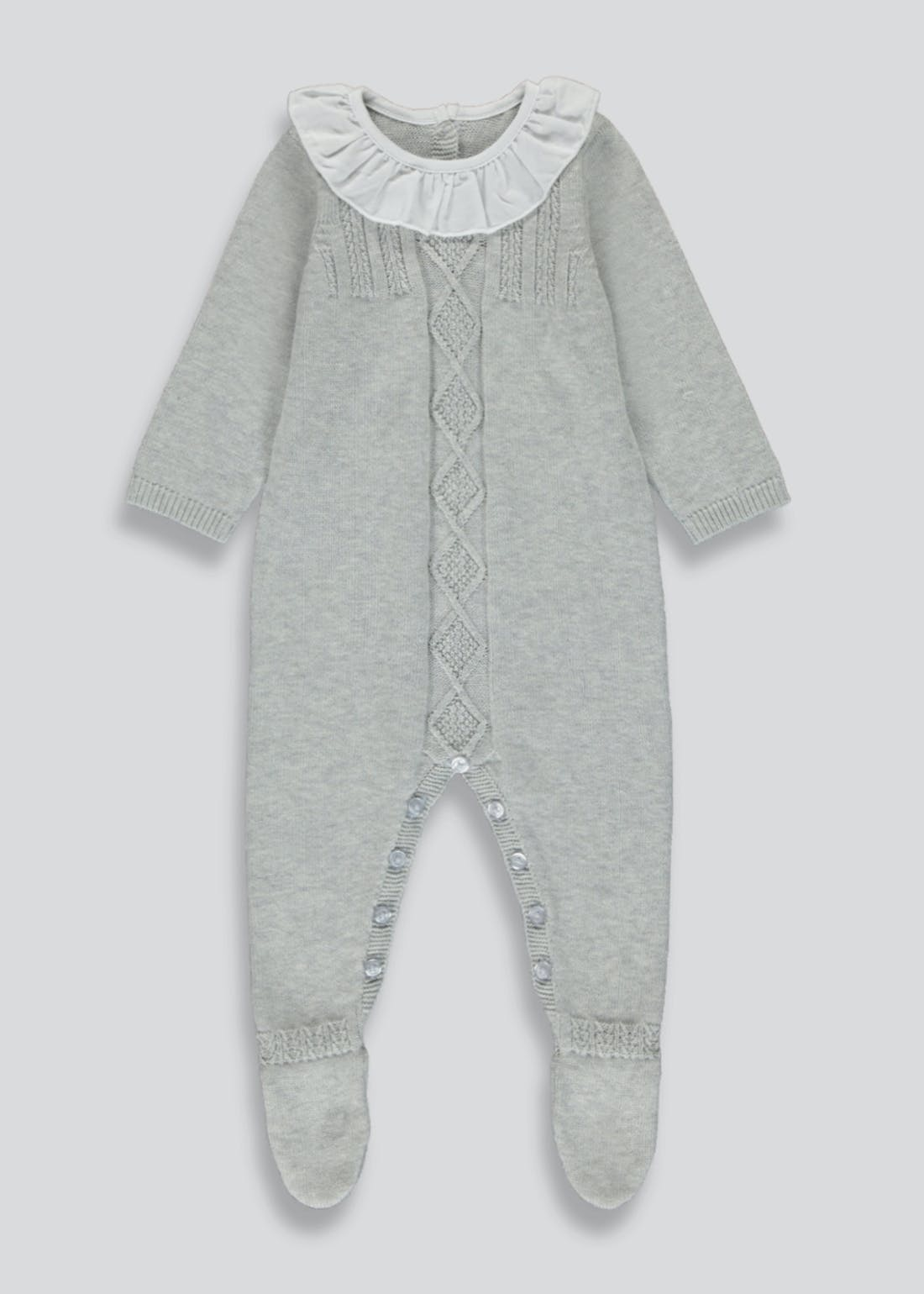 Unisex Knitted Frill Neck Romper (Tiny Baby-18mths)
