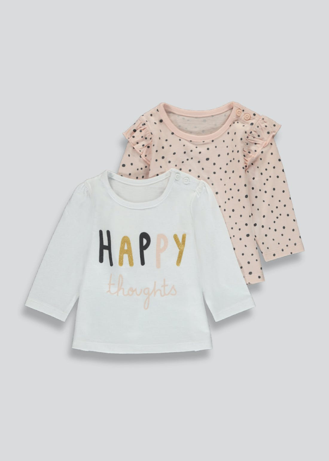 Girls 2 Pack Long Sleeve T-Shirts (Newborn-23mths)
