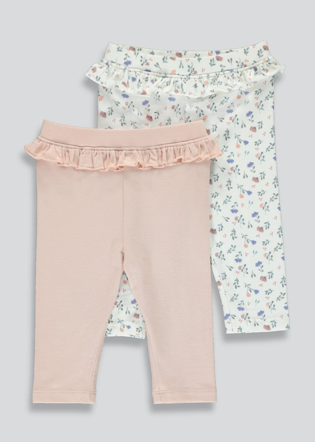 Girls 2 Pack Floral Frill Leggings (Tiny Baby-23mths)