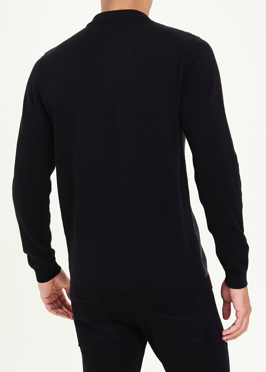 Long Sleeve Dogtooth Knitted Polo Shirt