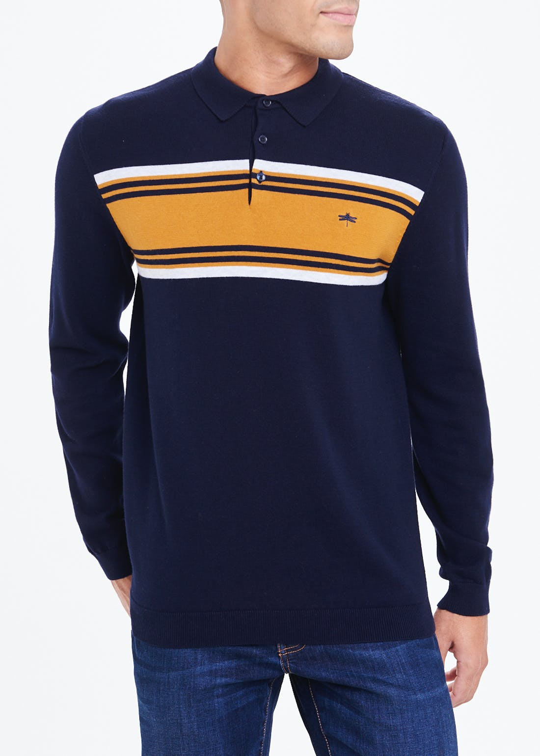 Long Sleeve Stripe Knitted Polo Shirt
