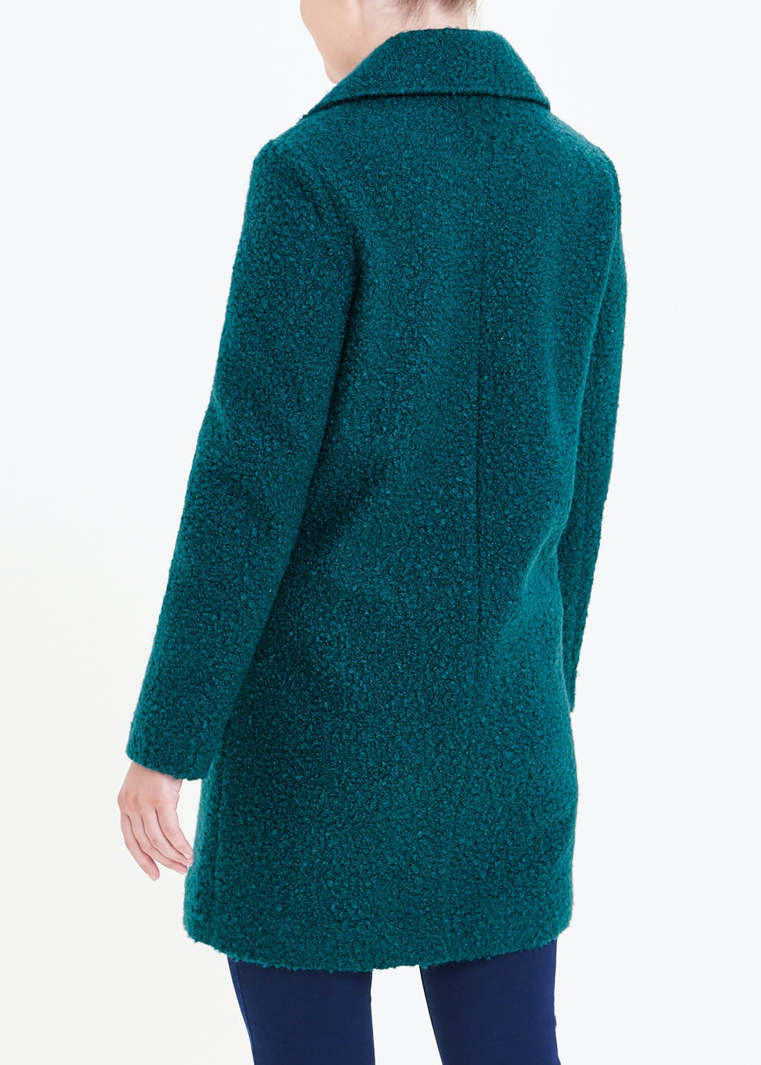 Teal Boucle Double Breasted Coat