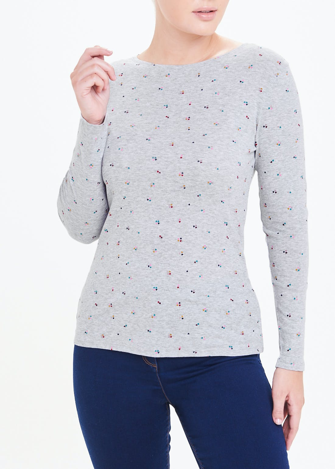 Perfect Long Sleeve Heart Print T-Shirt