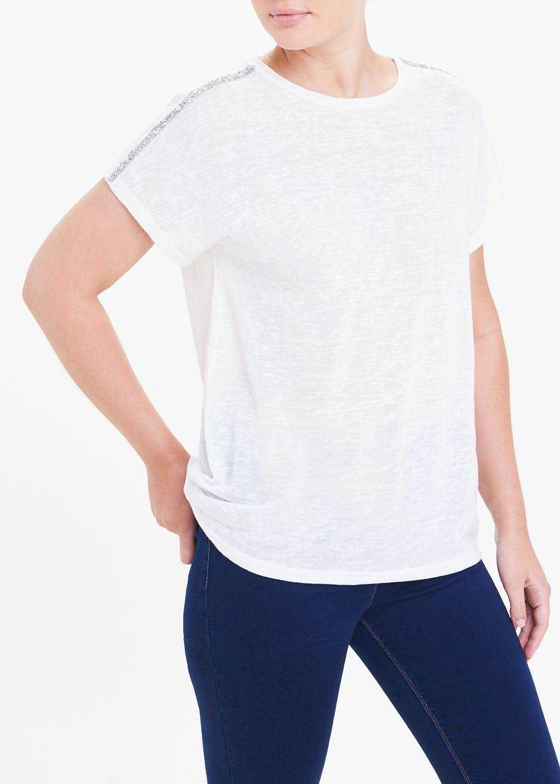 Glitter Tape Shoulder T-Shirt