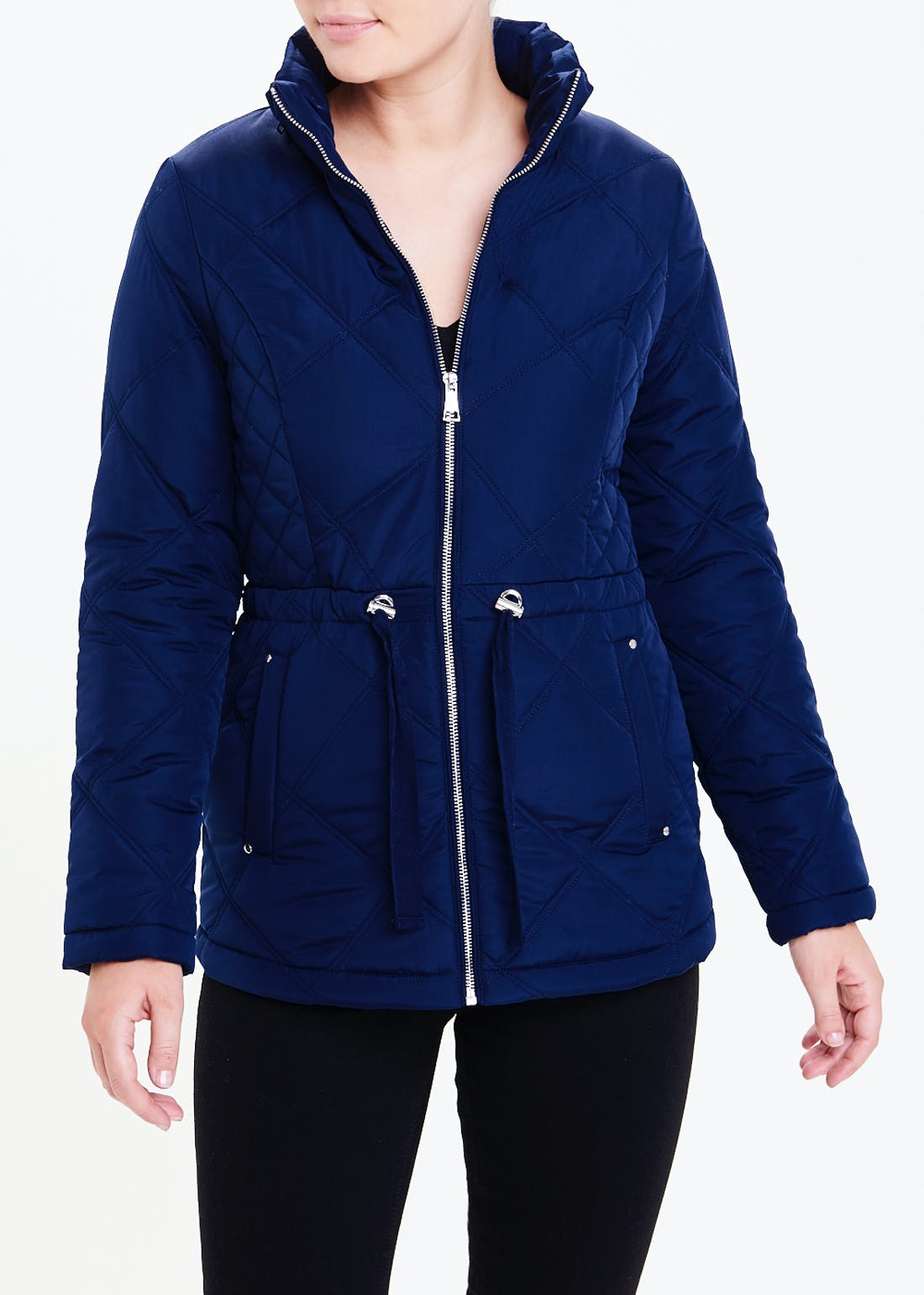 Papaya Classic Navy Quilted Padded Coat