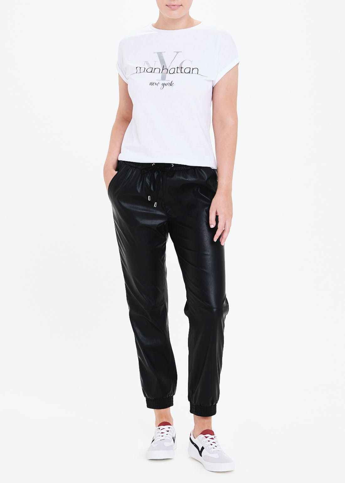Leather Look PU Joggers