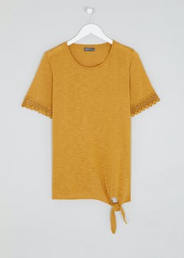 Papaya Curve Lace Trim Tie Front T-Shirt