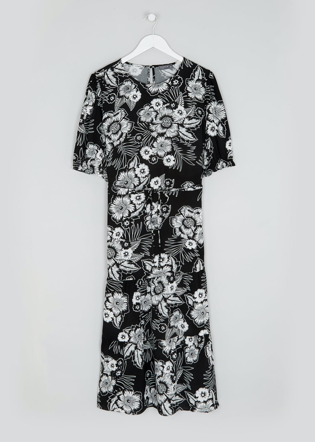 Papaya Curve Black Puff Sleeve Floral Midi Dress