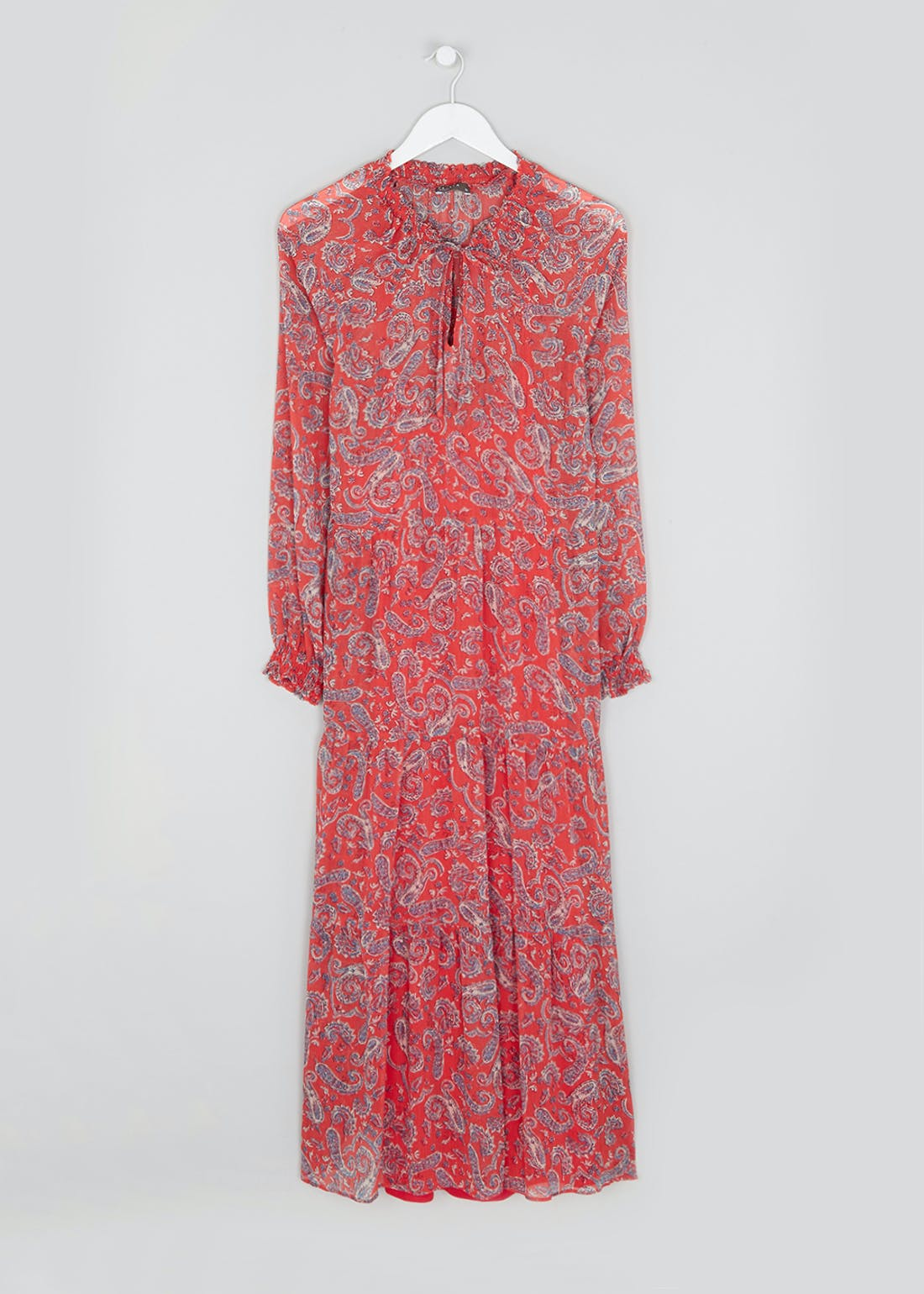 Red Long Sleeve Paisley Maxi Dress