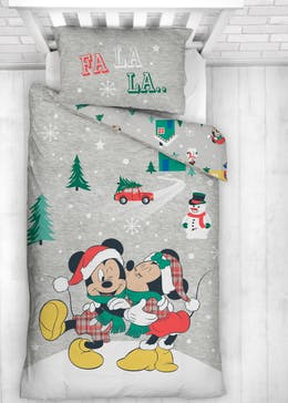Kids Reversible Mickey & Minnie Christmas Bedding (Single)