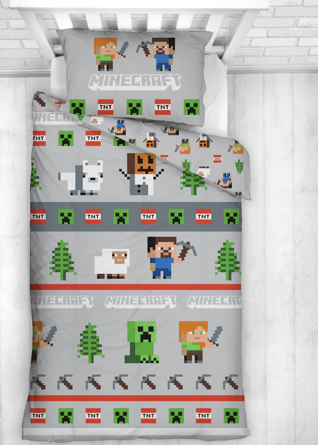 Kids Reversible Minecraft Christmas Bedding (Single)
