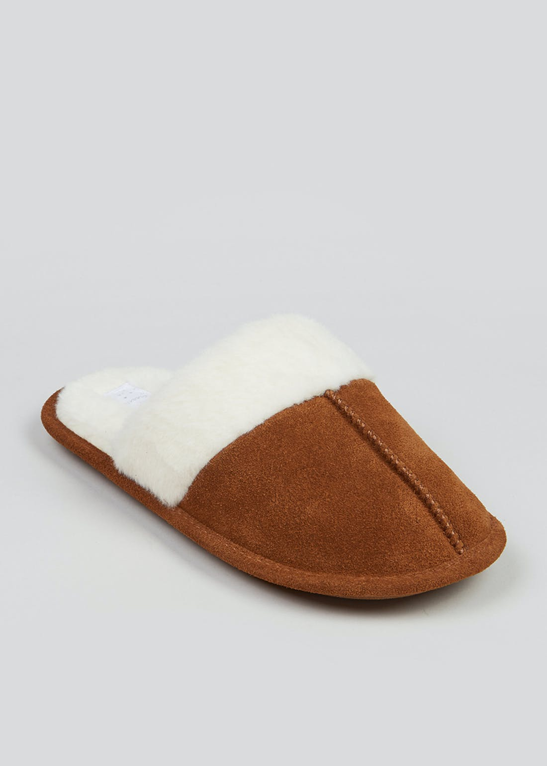Tan Faux Fur Trim Mule Slippers