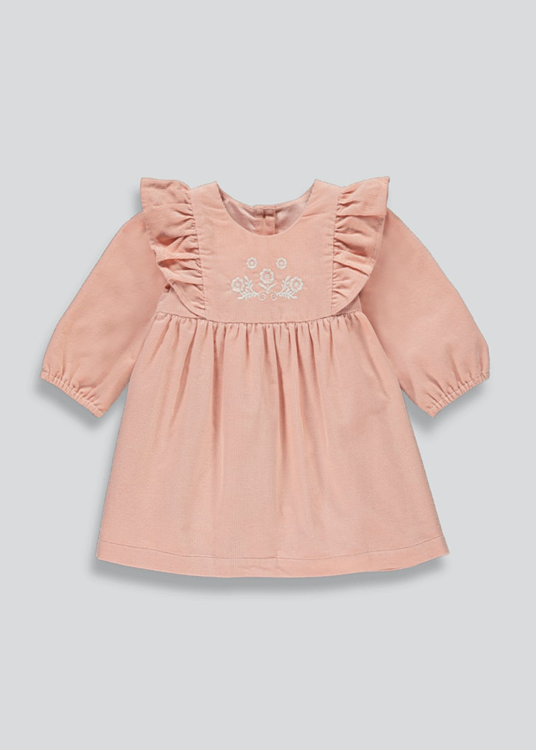 Girls Pink Long Sleeve Cord Dress (Tiny Baby-23mths)