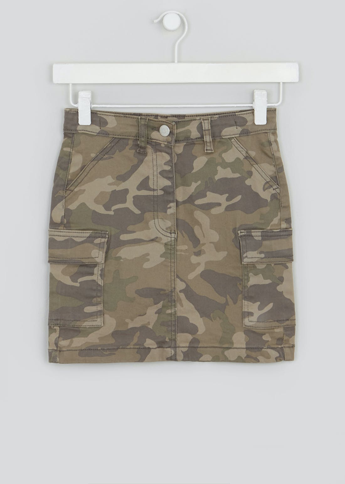 Girls Candy Couture Camo Utility Denim Skirt (9-16yrs)