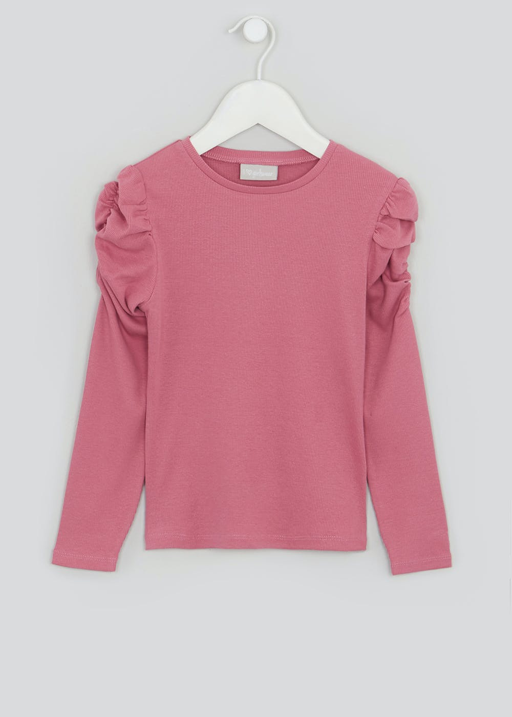 Girls Ribbed Puff Sleeve Top (4-13yrs) – Pink