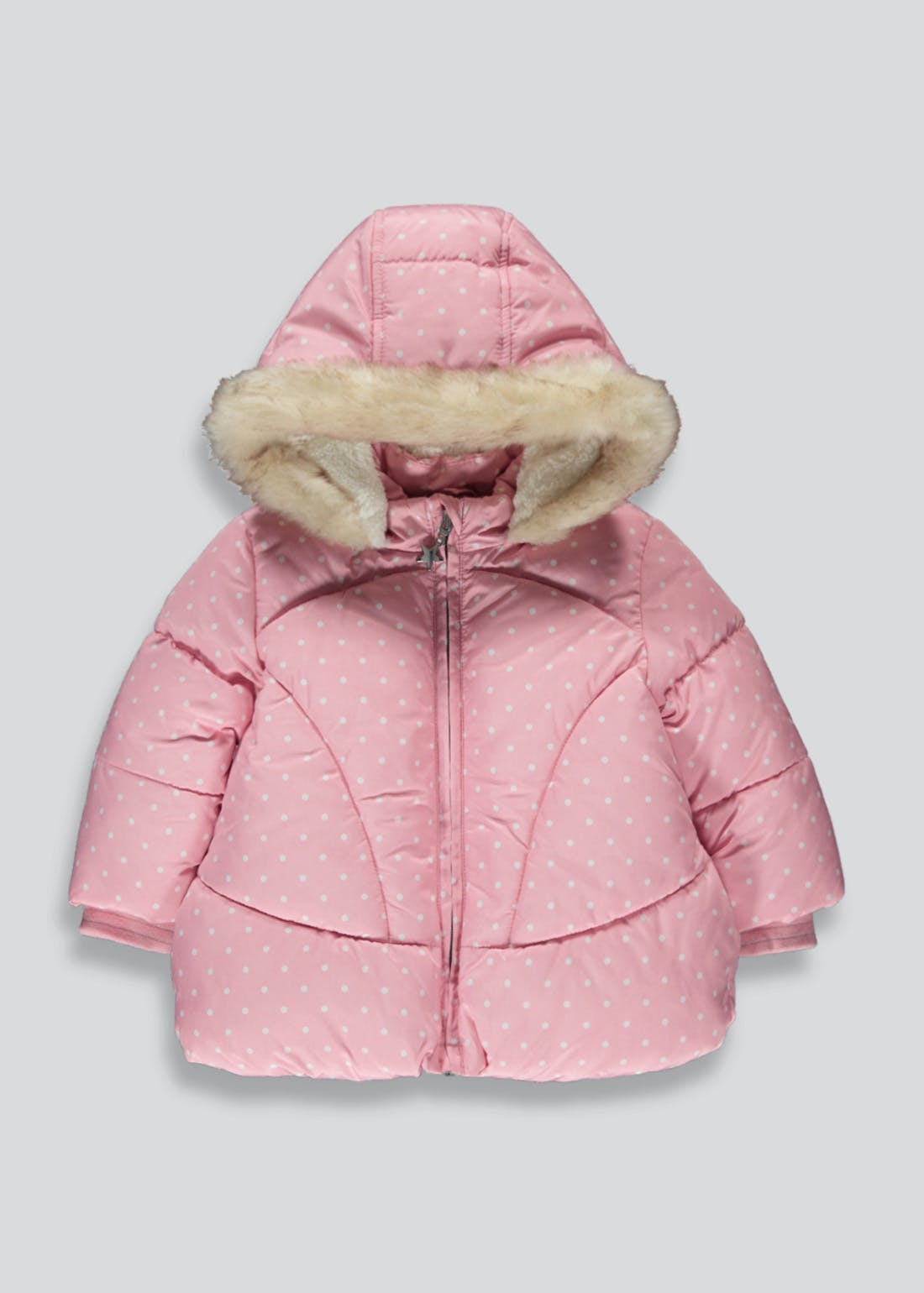 Girls Pink Spot Print Padded Jacket (9mths-6yrs)