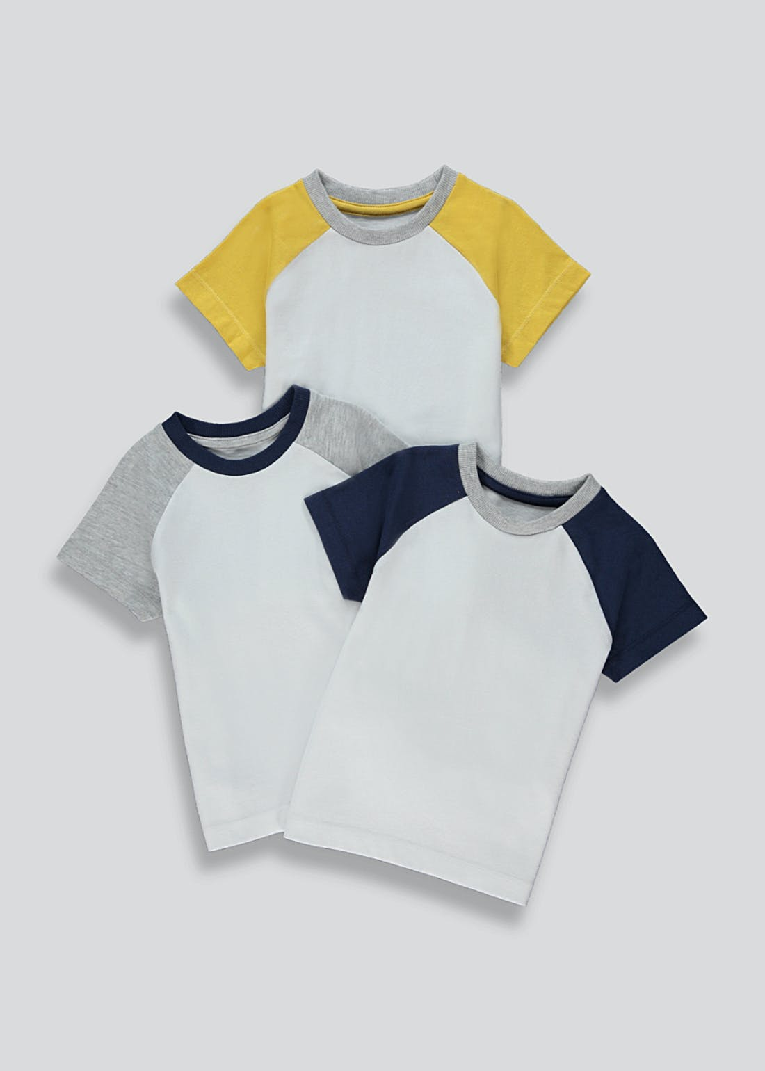 Boys 3 Pack Raglan T-Shirts (9mths-6yrs)