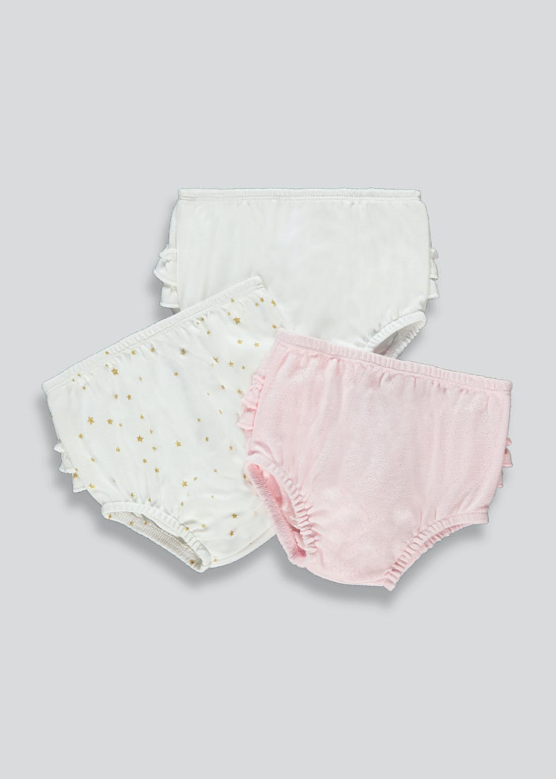 Girls 3 Pack Frill Knickers (Newborn-18mths)