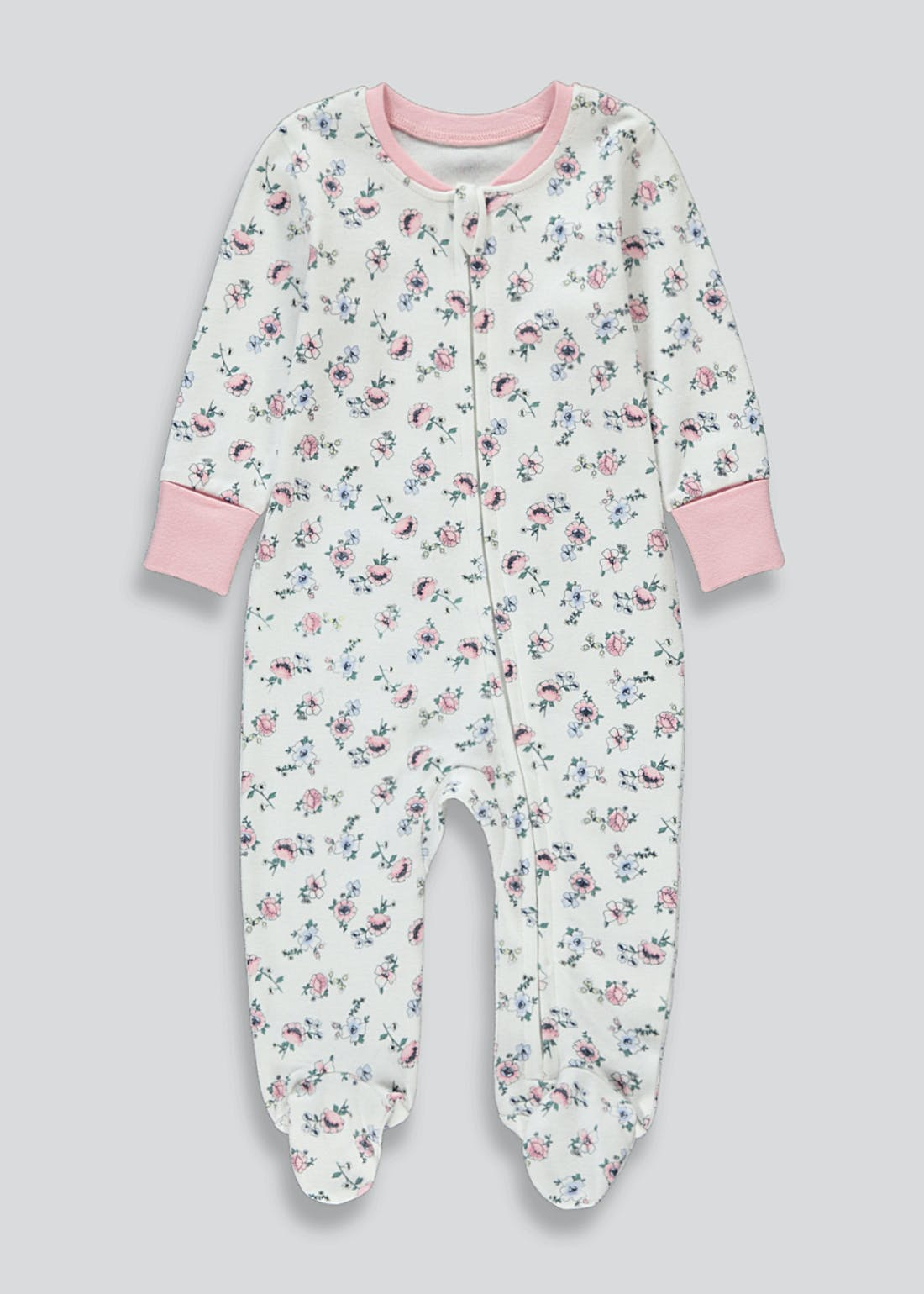 Girls Floral Zip Up Baby Grow (Tiny Baby-12mths)
