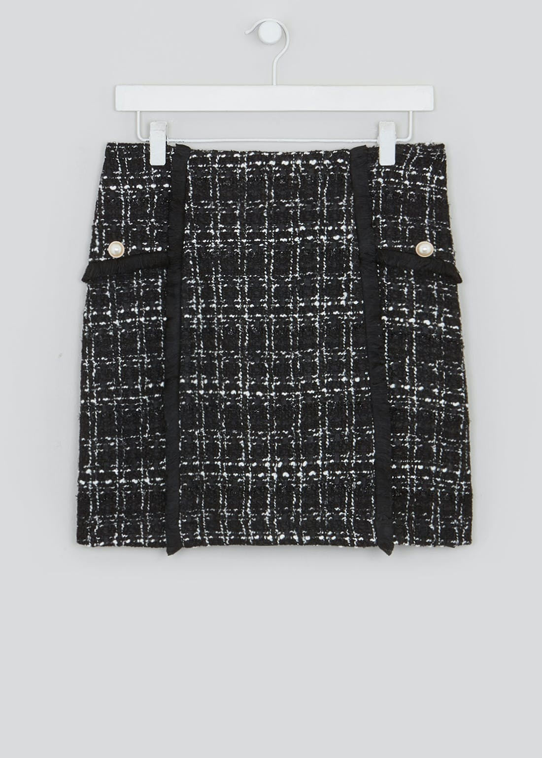 Textured Pearl Detail Mini Skirt