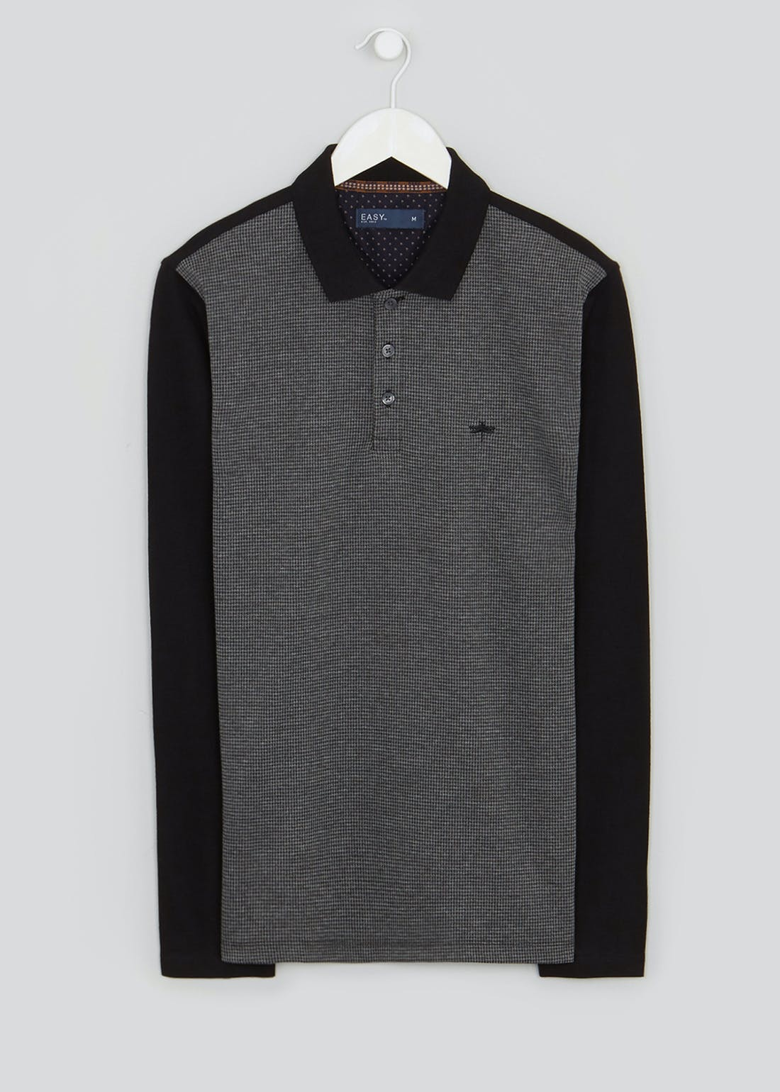Long Sleeve Dogtooth Print Polo Shirt