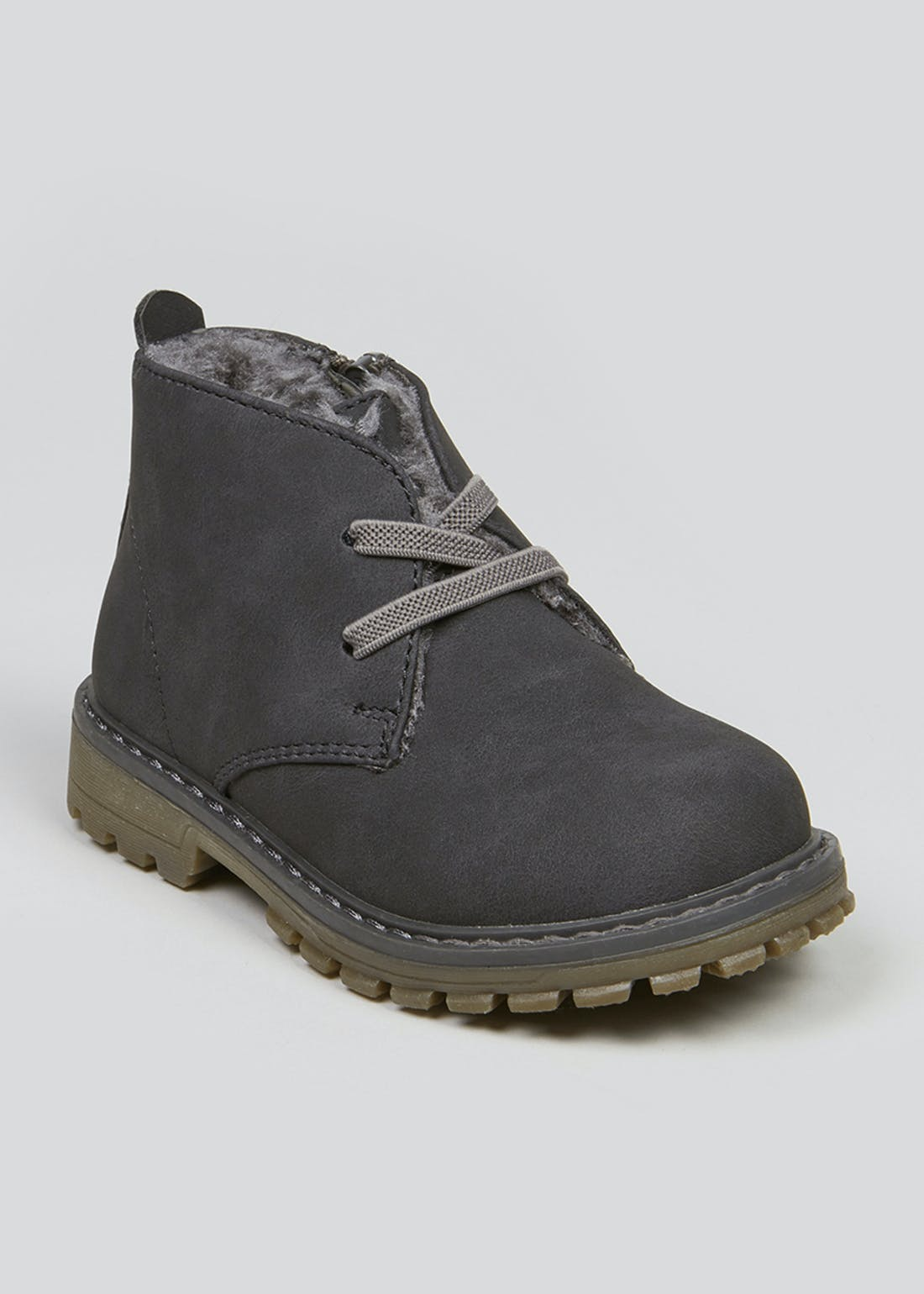 Boys Grey Fleece Lined Boots (Younger 4-12)