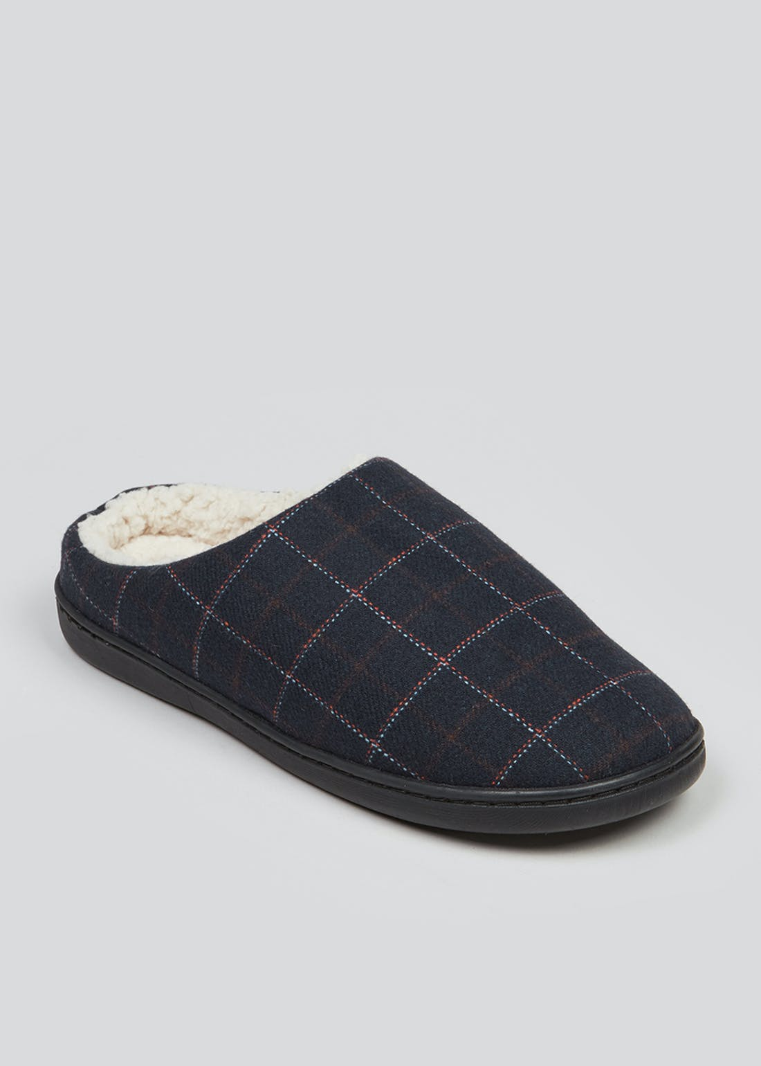 Navy Check Memory Foam Slippers