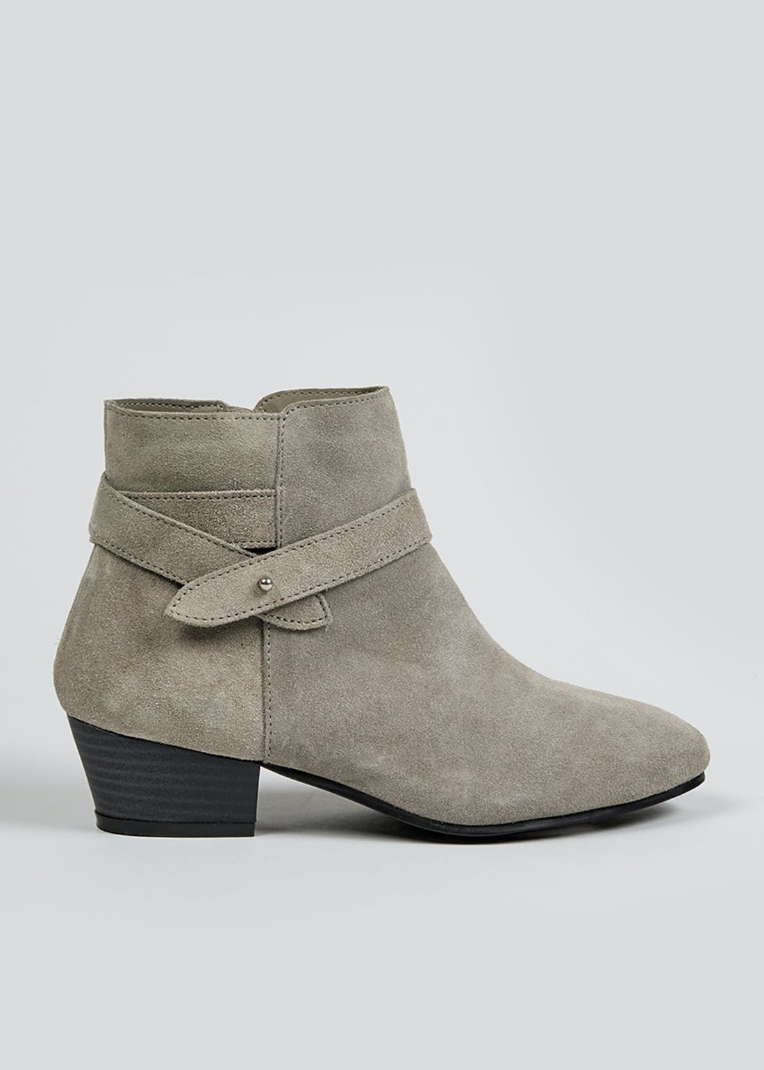Soleflex Grey Real Suede Western Ankle Boots