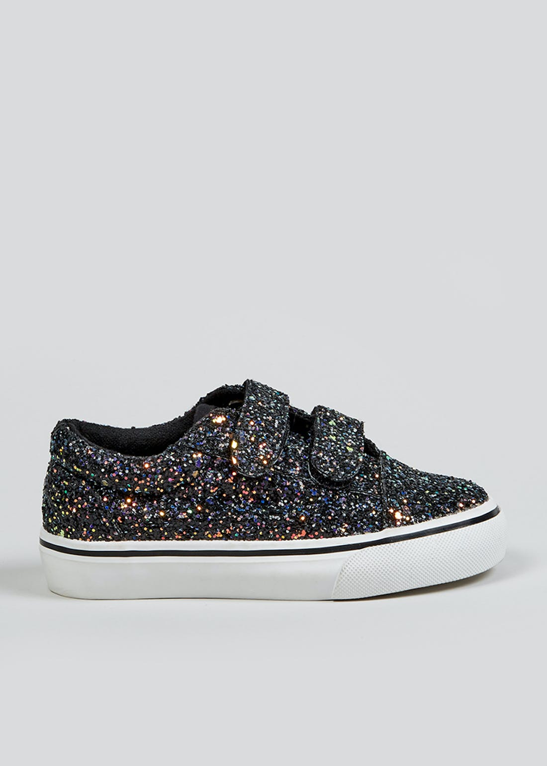 Girls Black Glitter Trainers (Younger 4-12)