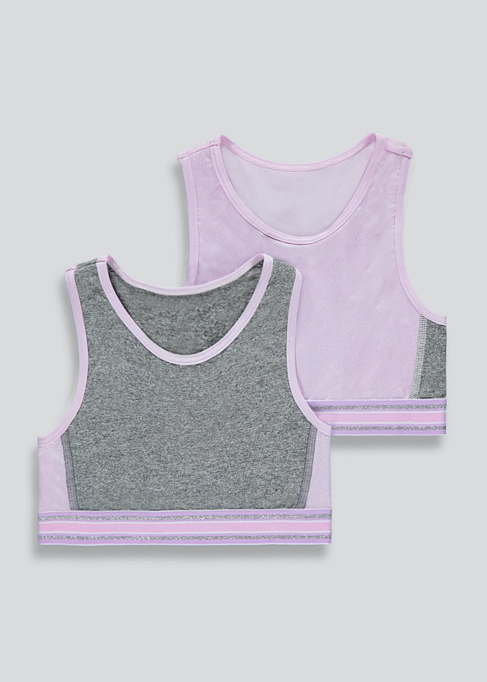 Girls 2 Pack Sports Crop Tops (6-13yrs) – Lilac
