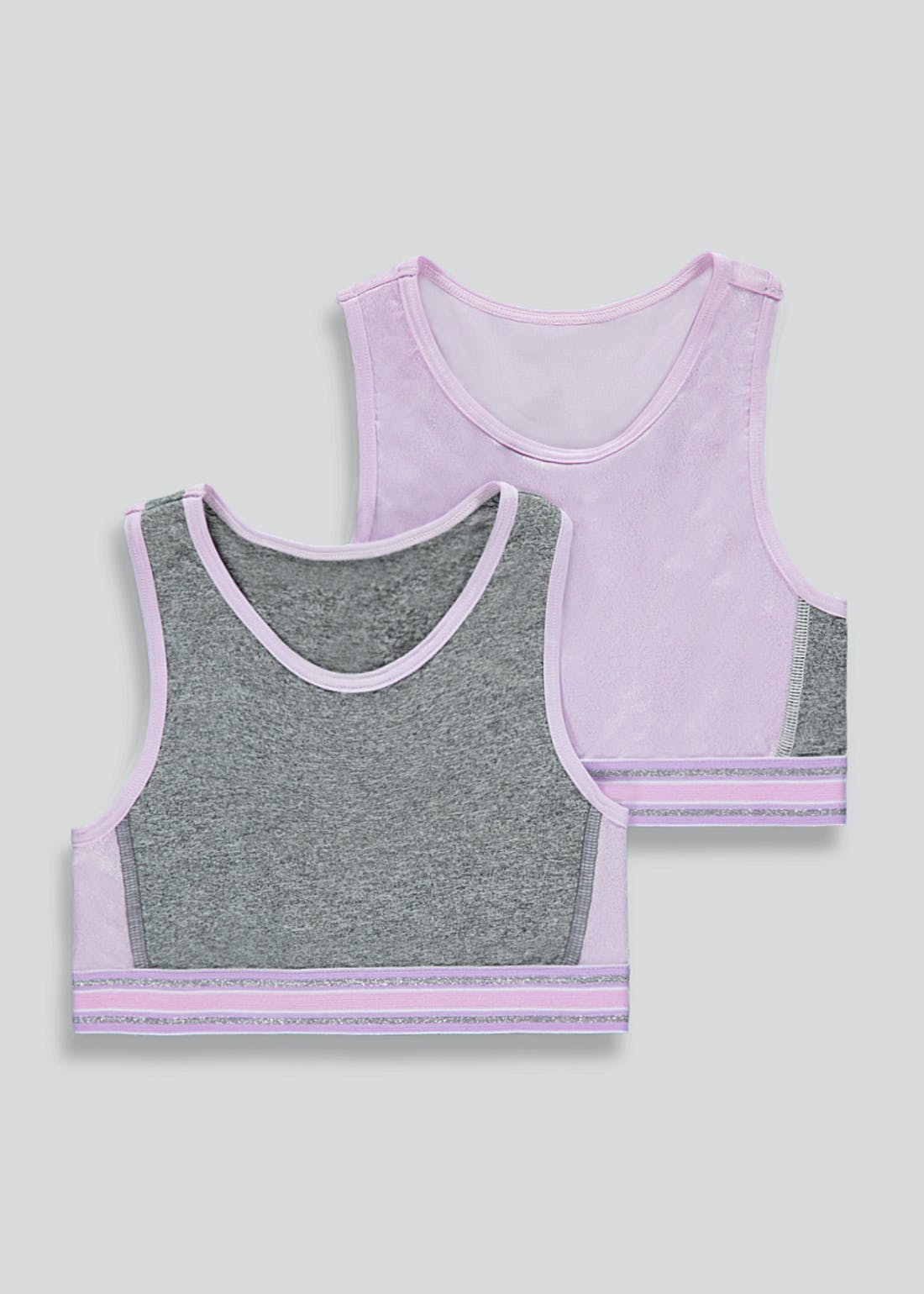 Girls 2 Pack Sports Crop Tops (6-13yrs)