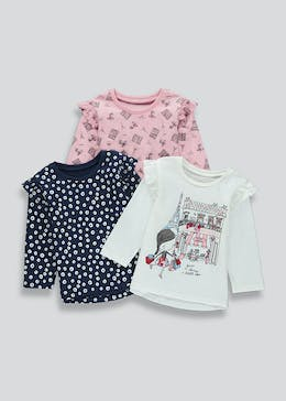 Girls 3 Pack Long Sleeve Paris T-Shirts (9mths-6yrs)