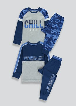 Boys 2 Pack Chill Slogan Pyjamas (4-13yrs)